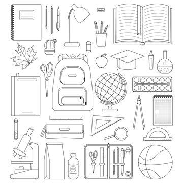 School Objects. Black line on white background.