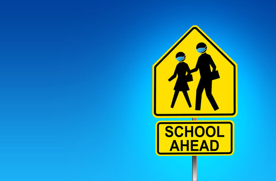 School Zone street sign with face mask wearing due to COVID-19 - Illustration