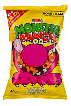 London, England - January 14, 2011: Packet of Roast Beef Monster Munch on a White background
