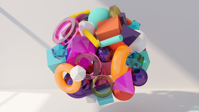 Glass and plastic colorful objects. Abstract 3d illustration. 3d geometric shapes. Modern wallpaper. Creative digital design.