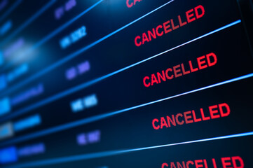 Airport lock down, Flights cancelled on information time table board in airport while coronavirus outbreak pandemic issued around the world