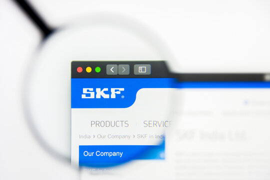 New York, New York State, USA - 19 June 2019: Illustrative Editorial of SKF India website homepage. SKF India logo visible on display screen.