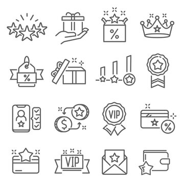 Referral program, invite friends, bonuses thin line icons set isolated on white. Affiliate marketing.