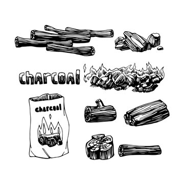 set of coal, charcoal, firewood for fireplace or barbecue, logo, emblem, decoration, vector illustration with black ink contour lines isolated on a white background in a doodle & hand drawn style