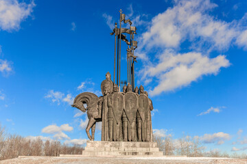 Monument to Alexander Nevsky and his retinue on Sokolikha mountain. In memory of the Battle of the Ice on Lake Peipsi in 1242. Pskov. Russia. Wall mural