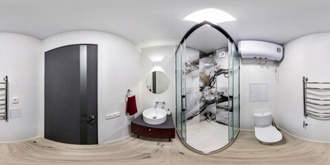 full seamless spherical hdri panorama 360 degrees angle view in interior bathroom restroom in modern flat apartments in equirectangular projection, VR content