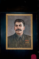 GORI, GEORGIA - JULY 21, 2014: Stalin's portrait in the Museum of Joseph Stalin in Gori, the birth town of Stalin. Joseph Stalin was the leader of the Soviet Union from the 1920s until in1953.
