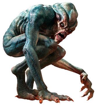 Swamp horror monster 3D illustration