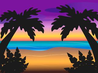 Photo sur Aluminium Dauphins Dark silhouettes of palm trees, beach landscape at sunset, vector illustration