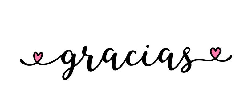 Hand sketched GRACIAS quote in Spanish as ad, web banner. Translated Thank you. Lettering for banner, header, card, poster, flyer