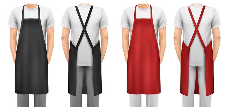 Black and red cotton kitchen apron set. Design template, mock up for branding, advertising etc. Vector illustration.