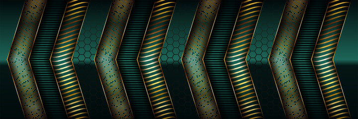 Luxury dark green overlap background with realistic gold line and hexagon on shiny golden