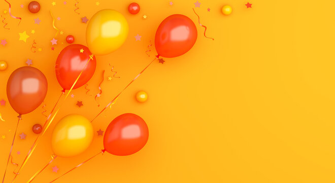Flying orange balloons and confetti on background, Autumn concept design, halloween, copy space text, 3D illustration.