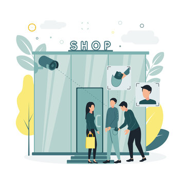 CCTV. Vector illustration of a surveillance camera removes a woman and a man standing near a store, records an attempt to steal a wallet from a man and a thief's face