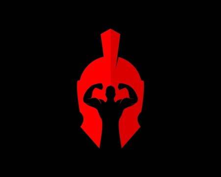 Red spartan helmet with strong people inside