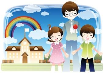 Foto auf Leinwand Regenbogen teacher with students