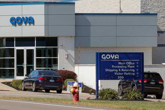 The logo for Goya Foods is seen on a signs outside the Goya Foods Great Lakes facility in Angola, New York