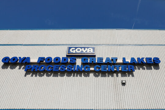 The logo for Goya Foods is seen on a sign outside the Goya Foods Great Lakes facility in Angola, New York