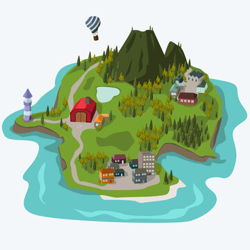 an island with city and village flat illustration vector