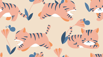 Animal seamless pattern, cute tigers with flowers and leaves