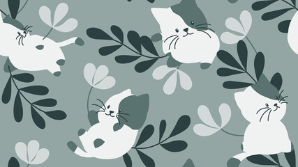 Animal seamless pattern, cute cats with flowers and leaves