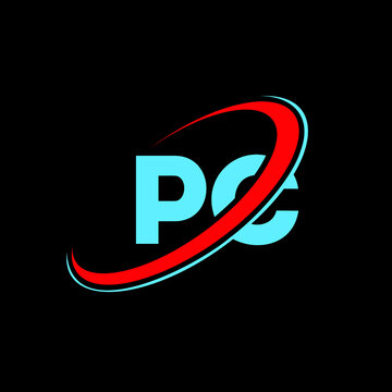 PC P C letter logo design. Initial letter PC linked circle uppercase monogram logo red and blue. PC logo, P C design. pc, p c