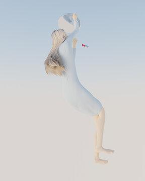 Illustration of woman applying makeup while falling