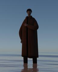 コートを着て湖に立つ男性