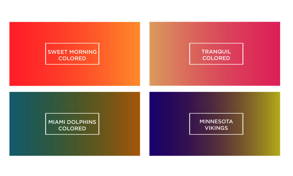 Set of gradient color background (sweet morning colored, tranquil colored, miami dolphins colored, minnesota vikings colored)