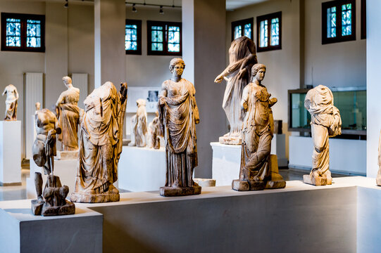 DION, GREECE - MAR 22, 2015: Sculptures in the Archaeological Museum of Dion, Pieria, Central Macedonia, Greece. This museum was established in 1983
