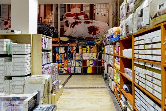 PAMUKKALE, TURKEY - APR 18, 2015: Interior of Varol textil factory shop in Turkey. Varol Textile factory was opened in 1969