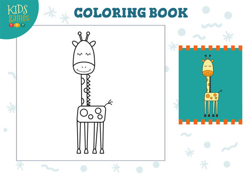 Copy and color picture vector illustration, exercise. Funny cartoon giraffe