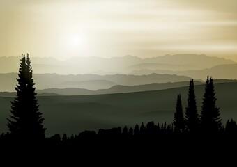 Printed roller blinds Black forest landscape