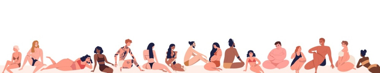 Photo sur Toile Les Textures Set of different, multiracial body positive people dressed on beach in beachwear. Various, pregnant, tattoo, dark skin men and women. Flat cartoon vector illustration isolated on white background