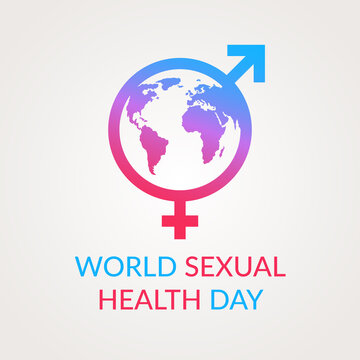 Concept for World Sexual Health Day. Planet earth in the outline of the signs of a woman and a man combined together, separated by a color transition from red to blue.