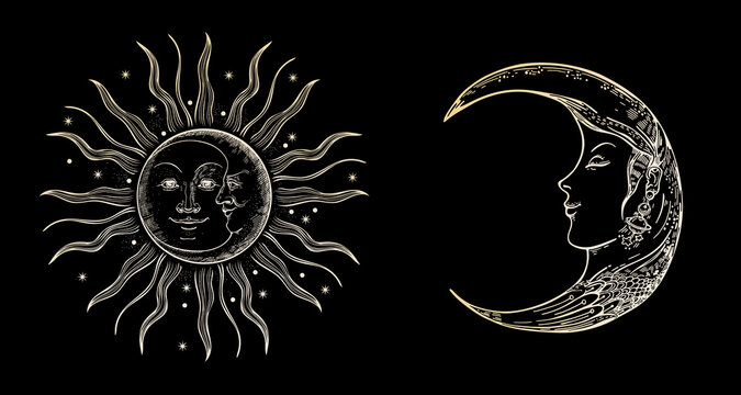 Sun, stars and crescent. Moon face. Vintage illustrations.