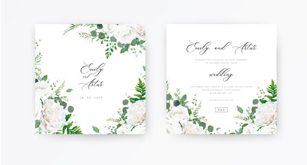 Photo sur Toile Les Textures Wedding invite, invitation, save the date card set. Vector floral frame design: ivory white peony Rose flowers, Eucalyptus branch, greenery and forest fern leaves illustration. Elegant rustic template