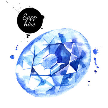 Watercolor hand drawn sapphire gemstone crystal mineral illustration. Vector painted sketch isolated on white background