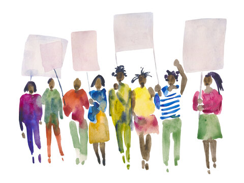 Hand drawn watercolor illustration of a group of black people holding placards. Prosperous crowd with banners in their hands.