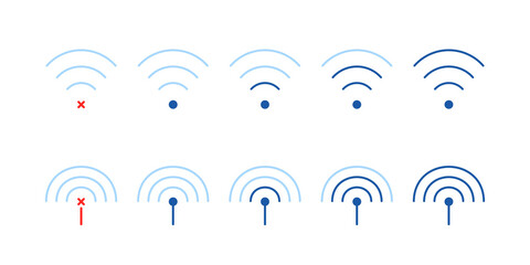 set of weak or strong wifi signal