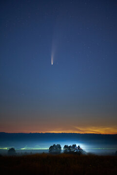 Astrophotography. C/2020 F3 (NEOWISE) or Comet NEOWISE, retrograde comet discovered on March 27, 2020.