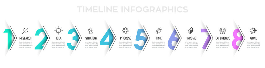 Obraz Vector Infographic arrow design with 8 options or steps. Infographics for business concept. Can be used for presentations banner, workflow layout, process diagram, flow chart, info graph - fototapety do salonu
