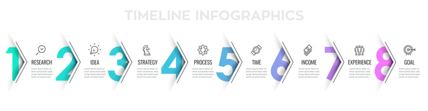 Vector Infographic arrow design with 8 options or steps. Infographics for business concept. Can be used for presentations banner, workflow layout, process diagram, flow chart, info graph