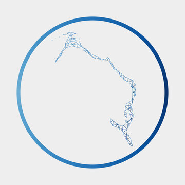 Eleuthera icon. Network map of the island. Round Eleuthera sign with gradient ring. Technology, internet, network, telecommunication concept. Vector illustration.