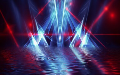 Fotomurales - Abstract dark futuristic background. Neon rays of light are reflected from the water. Background of empty stage show, beach party. 3d illustration