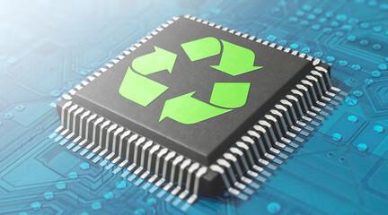 Mikroelektronik und Recycling - Prozessor mit Recycling-Symbol