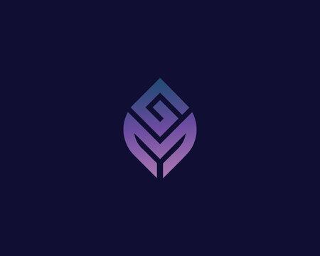 Letter G M logo design. creative minimal monochrome monogram symbol. Universal elegant vector emblem. Premium business logotype. Graphic alphabet symbol for corporate identity