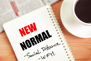New normal on paper note ,social distancing,work from home, topic in meeting room on work table background