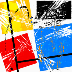 abstract pattern, art in the bauhaus tradition, with grunge structure, strokes, splashes and squares