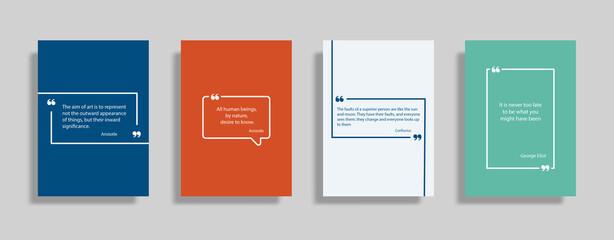 Fototapeta Quote speech box design templates set. Quatation text in bubble brackets frame. Citation empty graphic vector shape for social media inspiration posts. Motivation quote bubbles. Isolated textbox SET3 obraz